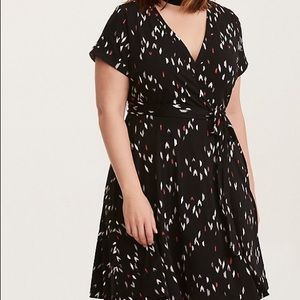 Torrid Faux Wrap Ikat Print Dress with Tie Waist 2